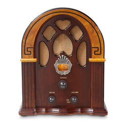 "Crosley - Retro Radio Companion - ""Happy Days are Here Again"" went the most popular tune of 1930, but for most Depression-era Americans, the sentiment amounted to wishful thinking. In 1932, Hoover was defeated by FDR by a landslide. After this runaway victory, it became apparent that FDR embodied an optimism and speaking voice that seemed tailor-made for radio. He delivered regular radio addresses to the nation known as ""Fireside Chats."" But FDR's chats weren't' the only thing Americans were listening to. Americans were relying upon radio as their evening entertainment. The tunes and talk were enjoyed on radio sets just like Crosley's Companion. Careful attention to detail makes this mini, yet magnificent, Cathedral-style radio as authentic as the 1930's original."