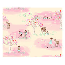 Pop & Lolli - Wander Woods Wallpaper, Pink - Removable, Re-usable, FABRIC, Eco-Friendly, Non-Toxic WALLPAPER. No professional installation needed. No Mess. No Glue.