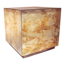 Worlds Away - Worlds Away Cubo Reverse Mirror Cocktail Cube Gold Leaf Base - Worlds Away Cubo Reverse Mirror Cocktail Cube Gold Leaf Base