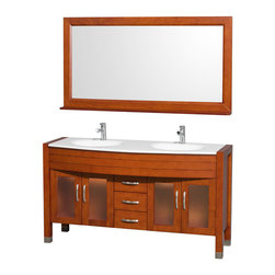 """Wyndham Collection - Daytona Cherry with White Man-Made Stone Top with White Integral Sinks - The Daytona 60"""" Double Bathroom Vanity Set - a modern classic with elegant, contemporary lines. This beautiful centerpiece, made in solid, eco-friendly zero emissions wood, comes complete with mirror and choice of counter for any decor. From fully extending drawer glides and soft-close doors to the 3/4"""" glass or marble counter, quality comes first, like all Wyndham Collection products. Doors are made with fully framed glass inserts, and back paneling is standard. Available in gorgeous contemporary Cherry or rich, warm Espresso (a true Espresso that's not almost black to cover inferior wood imperfections). Transform your bathroom into a talking point with this Wyndham Collection original design, only available in limited numbers. All counters are pre-drilled for single-hole faucets, but stone counters may have additional holes drilled on-site. Dimensions: 60 in. x 22 in."""
