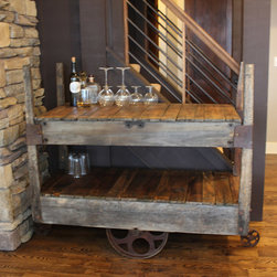 Rustically Modern Bar Cart - A one of a kind rustic drink cart created from two different rail-carts. The two tier combination is not only distinguished but it provides you with ample storage. This cart is perfect for you entertaining needs!