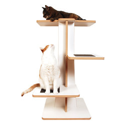 Square Cat Habitat - Acacia Cat Tree - It's a kitty condo or perch for a window view of the neighborhood. Made of white laminated fiberboard with 100-percent recycled wood fiber, your cats will love the arboreal resting place and the environment will also be happy! Accommodates all cats and all sizes.