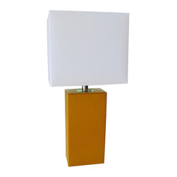 Elegant Designs - LT1025 Elegant Designs Modern Genuine Leather Table Lamp, Tan - This fashionable table lamp, with its leather body and white fabric shade, will add style and pizazz to any room. We believe that lighting is like jewelry for your home. Our products will help to enhance your room with elegance and sophistication.