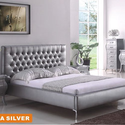 Contemporary, Modern Bedroom Collection - American Eagle- ANCONA Modern Sleek And Stylish With Button Tufted Headboard Chrome Legs Platform Bed With Curvy Casegoods Set