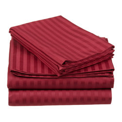 650 Thread Count Egyptian Cotton Queen Burgundy Oversized Stripe Sheet Set - 650 Thread Count Egyptian Cotton oversized Queen Burgundy Stripe Sheet Set