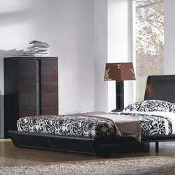 Stylish Leather Designer Bedroom Sets - Jenny chocolate leather modern bedroom set. The Bedgroup will add a touch of class to any bedroom. It is quality crafted with the finest wood veneer and leather headboard.