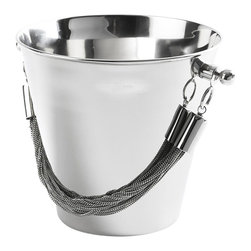 "Go Home - Chained Ice Bucket - This brass and stainless ice bucket with a polished nickel finish is perfect on a bar - and gorgeous filled with champagne. Measures 8.5""h x 9""w."