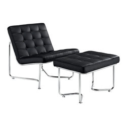 East End Imports - Gibraltar Lounge Chair in Black - Some passageways last miles, and others only as long as your cup of coffee. While the geographical symbolism behind the name is something profound unto itself, this modern lounge piece is no less impressive. Fashionably upright, with a perfect tilt backwards, Gibraltar connotes relaxation with a purpose. While some lounge chairs may lull you to sleep, the modernism latent in Gibraltar encourages the active pursuit of ideals. With its fashionably buttoned padded vinyl cushions, and polished stainless steel base, this set reminds us that all narrow pathways are met with a bountiful opening at the end.