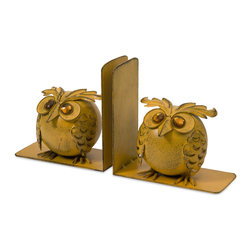 iMax - Viola Owl Bookends, Set of 2 - Great for a chic office or child's room, the set of two Viola owl bookends add a bit of whimsy to any decor.