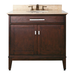 Avanity - Madison 36 Vanity Combo, Gala Beige Marble Top - The Madison 36 in. vanity combines function with style. The vanity is designed with strong attractive lines and finished in Light Espresso with brushed nickel hardware. It is constructed of solid poplar wood and veneer with soft-close door hinges. The vanity comes with a black granite top and undermount sink. Also available is a matching mirror, mirror storage cabinet and linen tower to complete your bathroom.