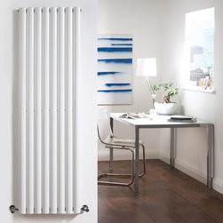 Hudson Reed - White Tall Vertical Designer Radiator Heater 63 x 18.6 & Valves - With a superior white powder coat finish (RAL9016), this graceful designer radiator boasts an impressive heat output of 1,375 Watts (4,694 BTUs) to ensure that your room is heated quickly and efficiently.With eight vertical oval columns bringing a touch of style to any living space, this modern classic, connects directly into your domestic central heating system via the angled radiator valves included. Revive White Vertical Single Designer Radiator 63 x 18.6 Details  Dimensions: (H x W x D) 63 (1600mm) x 18.6 (472mm) x 2.15 (55mm) Output: 1,375 Watts (4,694 BTUs) Pipe centres with valves: 21.6 (548mm) Number of columns: 8 Oval columns Fixing Pack Included (see image above) Designed to be plumbed into your central heating system Suitable for bathroom, cloakroom, kitchen etc.  Buy now, to transform your bathroom or other living space, at an affordable price. Please Note: Our radiators are designed for forced circulation closed loop systems only. They are not compatible with open loop, gravity hot water or steam systems.