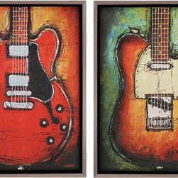 Paragon Decor - Blues/Country Set of 2 Artwork - Electrifying guitars are ready to jam!  They are textured and mounted in a floater frame.