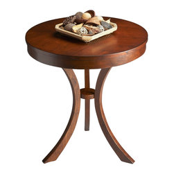 Butler Furniture - Side Table - Art deco-inspired design crafted from selected solid woods, wood products and cherry veneers. Choice cherry veneers on top and on small accessory shelf. Generously proportioned top. Light distressing throughout.