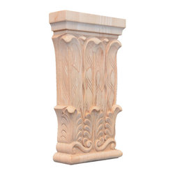 "Inviting Home - Providence Small Wood Capital - Red Oak - Providence capital in red oak hardwood 5-1/2""H x 3-1/4""W x 1""D bottom: 2-3/4""W Wood capitals are hand carved in deep relief design from premium selected North American hardwoods such as alder beech cherry hard maple red oak and white oak. They are triple sanded and ready to accept stain or paint. Hardwood capitals are a great way to enhance any pilaster or column."