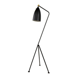 Grasshopper Floor Lamp in Black - The Grasshopper floor lamp is a modern reincarnation of the mid-centurary modern classic. Stylish and durable this modern floor lamp is made with a steel fram and aluminum shade.