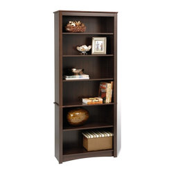 Prepac - 6-Shelf Bookcase - Sturdy MDF backer. Warranty: Five years. Made from CARB-compliant, laminated composite woods. Espresso finish. Made in North America. Internal: 29 in. W x 11.5 in. D x 65 in. H. Overall: 31.5 in. W x 13 in. D x 77 in. HUpscale and versatile, this bookcase is a great addition to your study, office or living room. Six shelves serve to organize books, picture frames, decorative accents and more. Group it with others to create a library wall for even more storage. With its attractive and adaptable design, its an invaluable piece in any home.