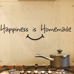 Decals for the Wall - Wall Decal Quote Vinyl Sticker Art Removable Happiness is Homemade Kitchen KI21 - This decal says ''Happiness is Homemade''