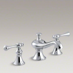 KOHLER - KOHLER Revival(R) widespread commercial bathroom sink faucet with traditional le - This Revival widespread commercial lavatory faucet features fluid lines and lever handles. The lines are easy to clean and the lever handles are ADA-compliant, appropriate for users of all capabilities. They're pre-assembled on durable ceramic disc valves
