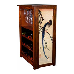 "Kelsey's Collection, Inc. - Hiroshige Wine Cabinet With Blue Bird On A Plum Tree - Pine Wine Cabinet  stores wine and glassware with famous artwork by Ukiyoye artist Aldo Hiroshige giclee-printed on canvas side panels. The art is giclee printed on canvas with three coats of UV inhibitor to protect against the sunlight and thereby extend the longevity of the art. The canvas is then glued onto panels and inserted into the frames. Kelsey's Wine Cabinet showcases and stores wine and glassware with solid radiata pine construction. Famous artwork is giclee-printed on canvas side panels which provide a unique decorating touch of art that enhances the product and reflects your home-decor style.  The frame, top, and racks are solid New Zealand radiata pine with a hand stained and hand rubbed rubbed medium reddish brown finish, that is then protected with a  lacquer coat and top coat.. Kelseys Collection is where ""Great Art & Function Meet""  This model is also referred to as the Jessica model. Dimensions are 33 by 22 by 12 deep.  Holds 15 wine bottles and full sized wine glasses.  Some assembly required."