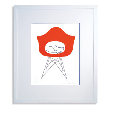 Cat in Chair Print - Limited edition signed screen print