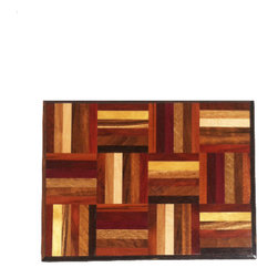 Exotic Chopping Blocks - Rainbow Serving Tray - This serving tray is stunning with all of the different colors it includes. The patterned part of the tray includes woods such as Purple Heart, Oak, Bloodwood, and Snakewood. It is wrapped with Palm Wood. All the woods are their natural colors. There has been no paint or stain added.