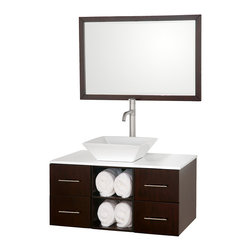 "Wyndham Collection - Wyndham Collection 36"" Abba Single Sink Vanity in Espresso w/ White Glass Top - The beautiful Abba bathroom vanity set showcases versatility with an open storage area for towels, baskets, and other toiletries, four drawers for other accessories, and a mirror that hangs horizontally or vertically to best suit your needs. Customize it with your choice of countertop and sink."