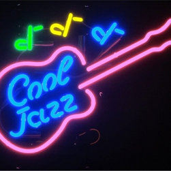 Neonetics - Cool Jazz Guitar 26 x 18 Neon Sign - This AWESOME Neon Sign is just what you've been looking for. It's made from hand-blown glass neon tubing with a black-finished metal grid for easy wall mounting or shelf placement. Features industrial-strength quality with silent operation and energy efficiency. It's perfect for your Man Cave, Game Room, Office or anywhere you want to show love for your favorite things! No assembly required. Includes cord for plug-in power. Double-boxed for safe shipping.