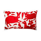 5 Surry Lane - Mexican Hand Embroidered Otomi Red Pillow - Warm up your sofa or bedding with a colorful throw pillow. The rich and storied pattern originates with the Otomi Indians of Mexico, and is still hand-embroidered by them today. Pick from two sizes and six vibrant colors to complement your well-traveled aesthetic.