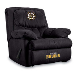 Imperial International - Boston Bruins NHL Home Team Recliner - Check out this AWESOME Home Team Recliner. It's incredibly comfortable with microfiber fabric, overstuffed arms and back. Each team logo is embroidered and sewn on the center headrest and footrest. This is a true statement piece that is perfect for your Man Cave, Game Room, basement or garage