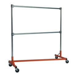 Z Racks - 5 ft. Z-Rack Garment Rack w Double Rail and 5 - Base Color: Orange. 500lb capacity. 14 gauge, 60 in. Long steel base (Environmentally safe powder coated finish ). 16 gauge, 60 in. upright bars and double hang rails. 1 5/16 outside diameter upright bars and hang rail. Grey non-marking soft rubber with TP center 4 in. casters. Made in the USA. 63 in. L x 23 in. W x 67 in. HThis Z-Rack is designed to hold up to 500 lbs of apparel, while maximizing all five feet of length. And because the two rows are placed on top of each other, the rack will not tip under a heavy load.