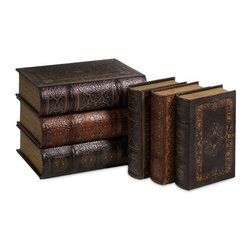 "IMAX - Cassiodorus Book Box Collection Set of 6 - Faux leather detailed Cassiodorus book box collection Item Dimensions: (8.25-10.5""h x 6-8.25""w x 2-2.75"")"