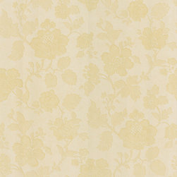 Brewster - Brewster Light Yellow Floral Vine Wallpaper - A calming subtle yellow sets the tone for this soothing floral wallpaper. This wallpaper highlights a solid sheet vinyl construction that adds depth and character.