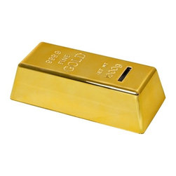 Kito - 6 1/2 Inch Shiny Gold Bar Design Coin Bank with Non Slip Base - This gorgeous 6 1/2 Inch Shiny Gold Bar Design Coin Bank with Non Slip Base has the finest details and highest quality you will find anywhere! 6 1/2 Inch Shiny Gold Bar Design Coin Bank with Non Slip Base is truly remarkable.