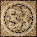 "Glass Tile Oasis - Celtic Medallion Brown Medallion Series Polished Stone - Sheet size:  36"" x 36""        Tile thickness:  1/4""        Grout Joints:  1/4        Sheet Mount:  Mesh Backed        Stone tiles have natural variations therefore color may vary between sheets.       Sold by the sheet    -"