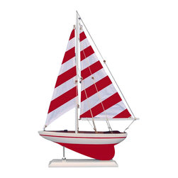 Handcrafted Nautical Decor - Red Striped Pacific Sailer 17'' - NOT A MODEL SHIP KIT   --Attach Sails and this Sailboat Centerpiece is Ready for Immediate Display ---- --Brighten  your day, or any room of your home, with   this delightfully fun  Pacific Sailboat model. Perfect nautical Decor gifts for friends,    children, or party guests, they also make excellent nautical decorations  or sailboat centerpieces for a reception or group event. Liven your  office, beach   house, or sunroom with one of these colorful sailboat  models today! --------    Handcrafted solid wood hull, masts and stand with metal supports--    Timeless nautical colors - Navy blue and white--    Largest sailboat selection available - We offer over 150 unique model sailboats --    Featured in Sept 2011 Brides magazine - Excellent wedding table centerpiece--    --    Perfect nautical gift for friends, children or party guests--    --    Ideal for banquets, receptions, meetings, or any other nautical party or event ---- Contact us for quantity discounts---- --This model sailboat requires minor assembly. Simply insert mast into hull and clip on the sails. --There is no rigging to tie or tighten. Assembly takes less than 2 minutes.