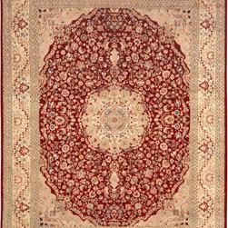 "ALRUG - Handmade Red/Rust Persian Kirman Rug 7' 10"" x 10' 3"" (ft) - This Pakistani Kirman design rug is hand-knotted with Wool on Cotton."