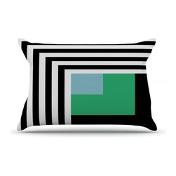"""Kess InHouse - Trebam """"Kutovi"""" Black Teal Pillow Case, Standard (30"""" x 20"""") - This pillowcase, is just as bunny soft as the Kess InHouse duvet. It's made of microfiber velvety fleece. This machine washable fleece pillow case is the perfect accent to any duvet. Be your Bed's Curator."""