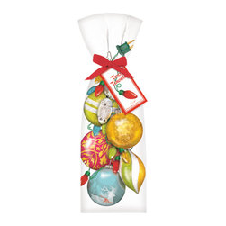 Mary Lake-Thompson Ltd. - Vintage Ornaments and Lights Towel, Set of 2 - Ornaments are not just for evergreens. Bring holiday decor to the kitchen with these 100 percent cotton flour sack towels designed by artist Mary Lake-Thompson. Give as gifts or keep for yourself.