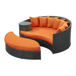 "LexMod - Taiji Outdoor Patio Daybed in Espresso Orange - Taiji Outdoor Patio Daybed in Espresso Orange - Harmonize inverse elements with this radically pleasing daybed set. Seven plush throw pillows adorn Taiji's thick all weather orange cushions allowing for the splendorous blending of mediating elements. Find the key to attainment as you bask in a charged and unified landscape of expansiveness. Set Includes: One - Taiji Outdoor Wicker Patio Daybed One - Taiji Outdoor Wicker Patio Ottoman Seven - Taiji Outdoor Wicker Patio Throw Pillows Synthetic Rattan Weave, Powder Coated Aluminum Frame, Water & UV Resistant, Machine Washable Cushion Covers, Ships Pre-Assembled Overall Product Dimensions: 71""L x 79""W x 29""H Daybed Dimensions: 71""L x 51""W x 29""H Ottoman Dimensions: 59""L x 28""W x 10""H Seat Height: 10""HBACKrest Height: 29""H - Mid Century Modern Furniture."