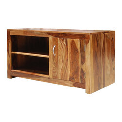 "Sierra Living Concepts - Contemporary Solid Wood Media Console Entertainment TV Stand Cabinet - Add the feel of New Mexico to your home with the Santa Fe Contemporary Solid Wood Media Console Entertainment TV Stand Cabinet. The 46"" long entertainment center provides plenty of space for equipment and media storage. The natural wood grain of the solid Indian Rosewood handmade multi use cabinet is enhanced by the multi toned stain technique."