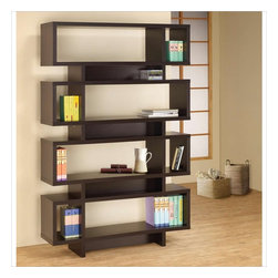 Coaster - Coaster Four Tier Modern Bookcase in Cappuccino - Coaster - Bookcases - 800307 - The modern-retro appeal of this bookcase plus its versatile storage and display options make it a must have for a contemporary home. The four large rectangular shapes are divided into eight shelves with three smaller rectangular compartments in between. The various nooks and crannies allow for a stylish way books, accents, and much more.