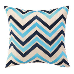 """Courtney Cachet - Chevron Embroidered Decorative Pillow - The modern prints and vibrant colors of this pillow mirror the designer's well-known positive and energetic attitude for a vibe that can only be described as happy and high-spirited. Features: -Modern prints and vibrant colors. -Down-filled. Dimensions: -16"""" H x 16"""" W x 5"""" D, 4 lbs."""
