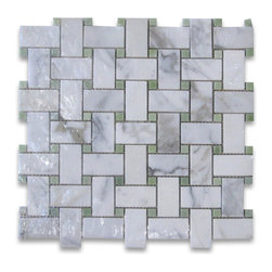 "Stone Center Corp - Calacatta Gold Marble Basketweave Mosaic Tile Green Dots 1x2 Polished - Calacatta Gold Marble 1x2"" rectangle pieces and Ming Green 3/8"" dots mounted on 12x12"" sturdy mesh tile sheet"