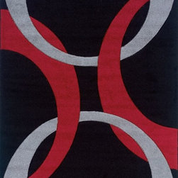 "Linon - Contemporary Corfu 8'x10'3"" Rectangle Black-Red Area Rug - The Corfu area rug Collection offers an affordable assortment of Contemporary stylings. Corfu features a blend of natural Black-Red color. Machine Made of 100% Heat Set Frieze Yarn Pile the Corfu Collection is an intriguing compliment to any decor."