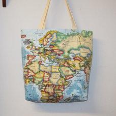 Tote Bag Blue Cotton World Map Atlas Fabric by AllTheTrimmingsUK