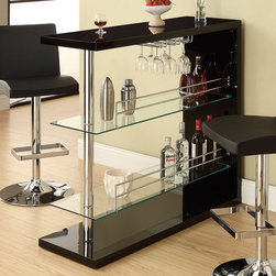 Coaster - Bar Table in Black - Entertain in style with the sleek contemporary bar unit featuring 2 glass storage shelves and a wine glass holder. The unit is finished in a gloss black and topped off with chrome accents.