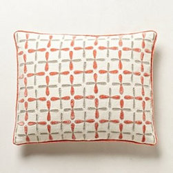 """Kevin O'Brien - Cross-Stitch Pillow - By Kevin O'BrienSide zipLinen; feather fillDry clean22"""" squareImported"""