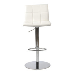 Euro Style - Euro Style Cyd White Bar / Counter Stool - If it had arms it would be a throne. The full seat and back offer delicious comfort. The squared off seams help keep the shape firm and tidy. This is a chair fit for a king or just someone whod like a beer after work and feel like a king. Euro Style is more than a brand name – it is a complete design approach.  The ever-growing furniture collections for living room bar dining room and office bring cutting-edge contemporary style from Euro Style's designers in Europe and factories in Italy and Asia. Euro Style has continued to grow focusing on the latest in contemporary design. Today Euro Style occupies 30000 square feet of permanent showroom space in both the High Point North Carolina and Las Vegas Nevada markets and also shows during the four major Hospitality/Contract Markets in the US. Euro Style manufacturers and distributes RTA modern furniture with factories in Italy and East Asia. Euro Style occupies a warehouse in Union City California of more than seventy thousand square feet and ships next day after order confirmation. Features include Soft leatherette over foam seat and back Chromed steel column Polished stainless steel base Durable easy to clean leatherette Adjustable height Additional colors available Matching office and side chairs.