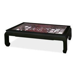 China Furniture and Arts - Rosewood Coffee Table w/Longevity Emblem - The intricate pattern of Chinese window panel has long been an artistic form in Chinese decorative art. Completely hand made of solid rosewood, an open carving of longevity symbol panel is carefully inserted into this coffee table. Its elegant rich cherry rosewood finish with black ebony frame round out its quiet beauty. The table is large enough for you to make your own decorative arrangements with a vase, your favorite magazine, and coffee cups. A living room and family room essential. Beveled glass top included.