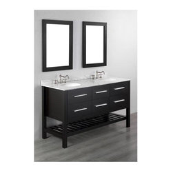 Bosconi - 60 in. Double Vanity in Black Finish - Faucet and drain not included. Contemporary and simple style. Bottom towel rack. Four soft closing drawers. Two drawers have a special cut out for plumbing. Silver finished hardware. Two under mount white ceramic sinks. Three 8 in. standard faucet holes. Overflow drain. 0.5 in. thick white Carrera marble countertop. CARB PH2 Certified MDF sides and paneling. Made from birch solid wood frame. Matching backsplash: 0.5 in. D x 2.75 in. H. Mirror: 24 in. W x 35.5 in. H (15 lbs.). Sink: 18 in. W x 15 in. D x 7.7 in. H. Vanity: 60 in. W x 22 in. D x 33.5 in. H (206 lbs.)This is a practical Bosconi vanity option will meet the needs of an individual that appreciates style and form that follows function.